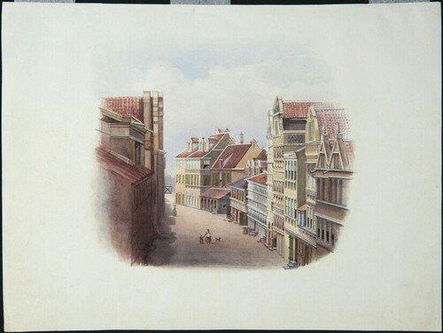 C. (Cornelis) Springer, Straatgezicht te Willemstad, 1817-1891,  , De afgebeelde straat is vermoedelijk de Breedestraat in Willemstad, Curaçao